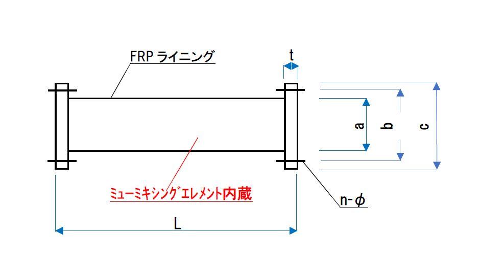 ミューミキサー(ミューミキシングエレメント内蔵型)寸法図